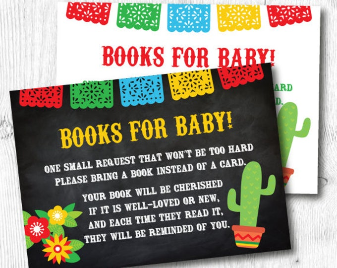 Fiesta Baby Shower, Fiesta Books For Baby Insert, DIGITAL, INSTANT DOWNLOAD