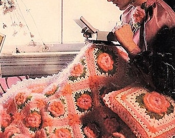 Vintage 1970s Crochet Pattern Bed of Roses Mohair Afghan and Pillow Set PDF Instant Digital Download 44x56