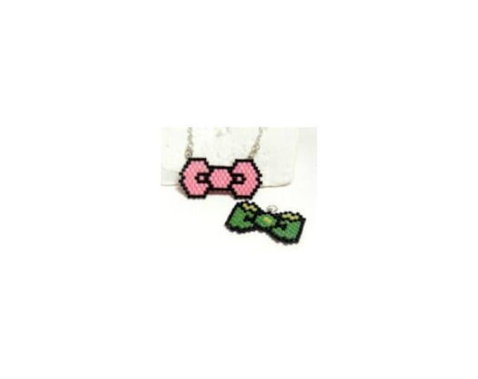 Pink & Green Bows, Brick Stitch Beading Patterns, DIGITAL DOWNLOAD