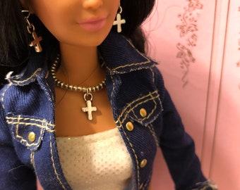 Barbie Silver Necklace & Earrings With Cross + Bracelet Fits Most Barbie Dolls