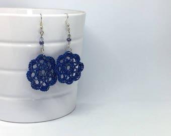 Earrings crochet blue round flower