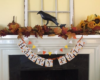 Happy Fall decoration Happy Fall Banner Autumn Decoration with Candy Corn garland Fall Garland Fall Happy Fall Garland Photo Prop
