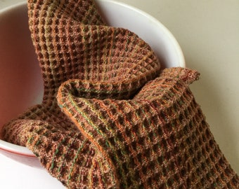 Handwoven waffle weave kitchen towel