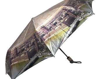 LONDON BIG BEN Auto Open & Close Folding Umbrella, Luxury Windproof Umbrella