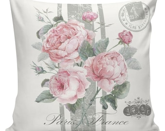 Spring Pillow Vintage French Pillow Botanical Spring Roses Throw Pillow - Elliott Heath Designs #SP0187