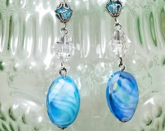 Marbled Turquoise Blue Swirled Earrings, great gift for her or mom