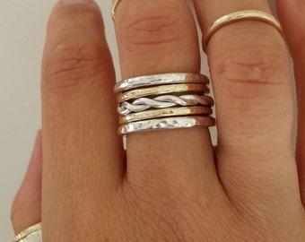 Sterling Silver Twist Stacking Ring - Made to Order