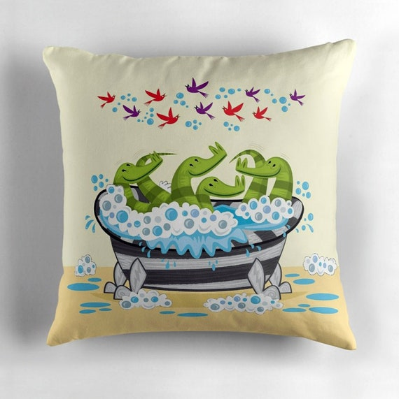 Crocodile Soup - throw pillow cushion cover including insert by Oliver Lake - iOTA iLLUSTRATION