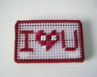 I <3 Love You Gift or Business Card Holder, Plastic Canvas