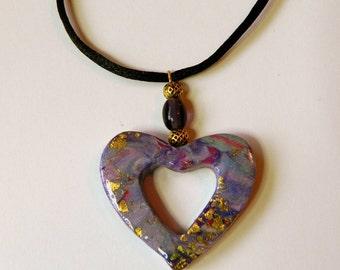 Heart Pendant Purple Heart Pendant Blue Heart Pendant Valentine's Day Pendant