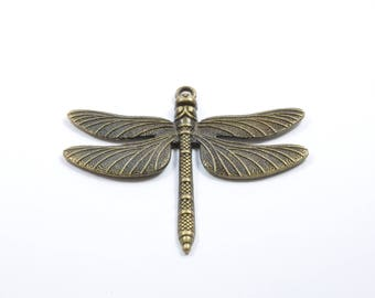 BR209 - Large Dragonfly charm in metal color bronze