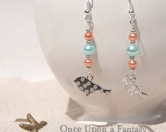Earrings coral and blue birds - Once Upon a Fantasy