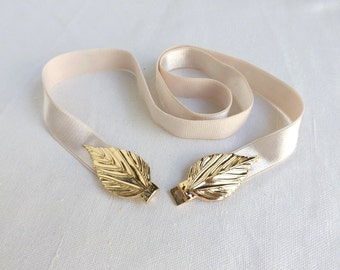 Ivory elastic waist belt. Gold leaf buckle. Bridal / Bridesmaid ivory wedding belt. Dress belt.