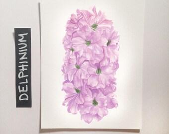 Delphinium / Watercolor Illustration / Botanical Illustration / Art Print / Giclée Print / Wall Art / Home Decor