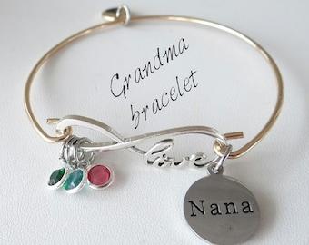 Nana Bracelet, Grandma Bracelet, infinity, grandma bracelet, mom bracelet, valentines gift for mom, gift for mom, bangle bracelet