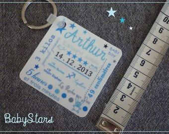 Keychain square plastic baby illustration stars