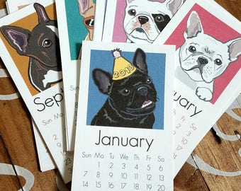 2018 French Bulldog Calendar - Printed on Recycled Linen Paper