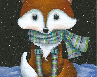 Fox in Winter - 5 x 7 Fine Art Print of a Red Fox Sitting in the Snow Wearing a Striped Scarf and Striped Socks