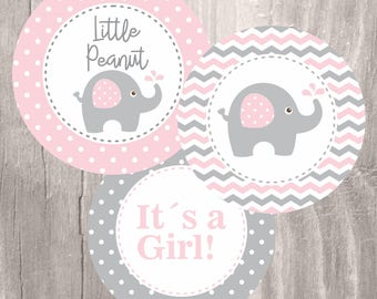 Pink Elephant Baby Shower Printable Centerpieces, Pink and Grey Elephant Girl Baby Shower Centerpieces, Instant Download, Shower Decoration