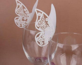 Butterfly Wine Glass Name Card (10 Pack)