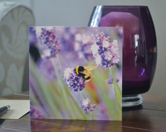 Summer Buzzing Bee and lavender Greeting Card blank for your own message by Bethany Moore