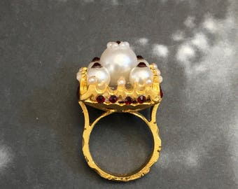 Regal 22K Gold Plated Square Cocktail Ring with Pearls and Red Crystals
