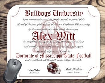 Mississippi State Bulldogs Ultimate Football Fan Personalized Diploma - Mouse Pad - Perfect Gift