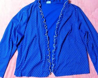 Vintage Lingerie Blue Polka Dot Bed Jacket, Vintage Blue White Polka Dot Top, Vintage Bed Jacket