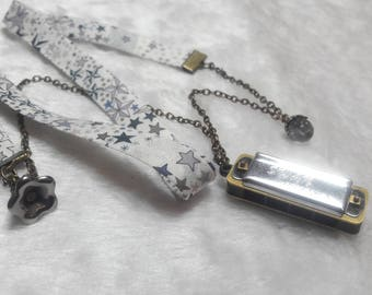 Liberty grey & silver Harmonica necklace