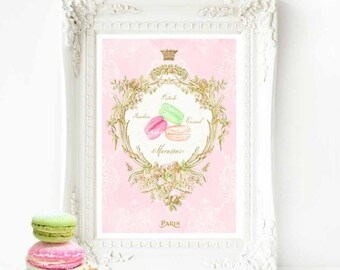 French macaron watercolor illustration, kitchen print, bakery print, cake print, A4 giclee
