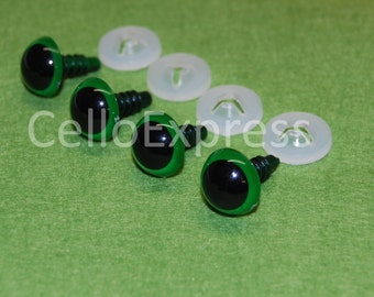 12mm Green Eyes - Safety Eyes with Plastic Backs for Teddy Bear/Animal Making