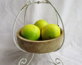 Vintage French Country Painted Fruit Stand With Vintage Wooden Bowl Vintage Counter Storage Stand Vintage Home and Living French Country Set