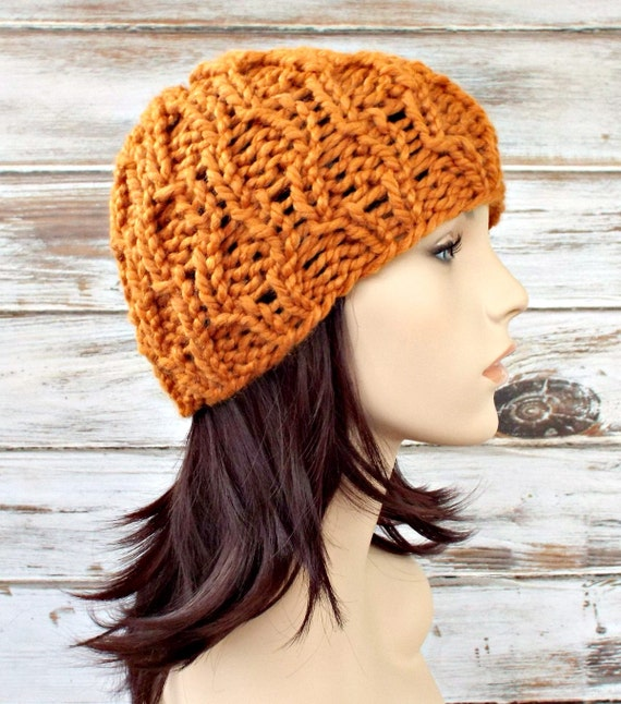 Knit Hat Womens Hat - Amsterdam Cable Beanie in Apricot Orange Knit Hat - Orange Hat Orange Beanie Womens Accessories Winter Hat