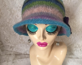 Scaps 2 Vintage Inspired Crocheted Felted Cloche Flapper Hat 'Molly'