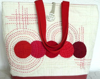 Japanese Sashiko quilted tote bag, Applique Patchwork bag, hand quilted, cotton and linen large tote, Red quilt bag
