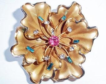 Vintage 1950s Goldtone Flower Brooch w/ Rhinestones - Matching Screwback Earrings - Mid-Century Costume Jewelry - Old Rose Brooch - Floral