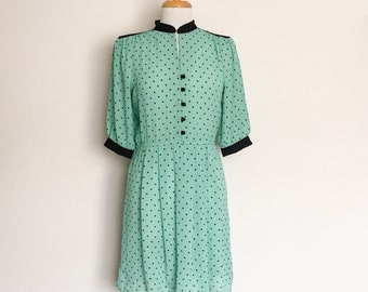 1980s Green Black Polka Dot Day Dress Vintage