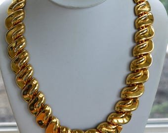Bold Chunky Gold tone Chain Link Necklace, Vintage, 21""