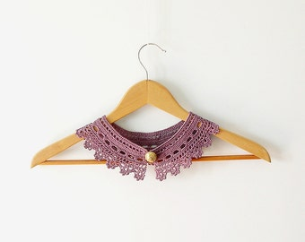 Lace Collar Necklace Radiant Orchid - Plum Peter Pan Collar - Irish Style