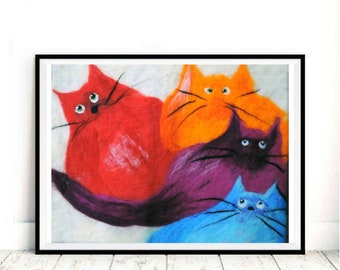 Picture of wool сat Rainbow cat art LGBT cat Felted wool decor Cats wall decor 3d wool painting 3d animal painting Wool wall hanging Fiber