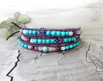 Turquoise Bracelet. Gemstone Bracelet. Emerald Jewelry. Stone Jewelry. Gift for Her. May Birthday Gift. May Birthstone. Positive Energy