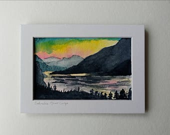 Columbia River Gorge Sunset Watercolor