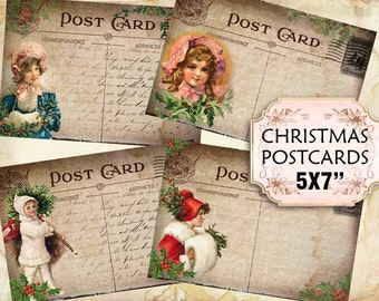 Christmas Postcards Vintage Noel 5x7 inch Victorian Greeting Cards Shabby chic paper scrapbook gift tags (447) Buy 3 - get 1 free