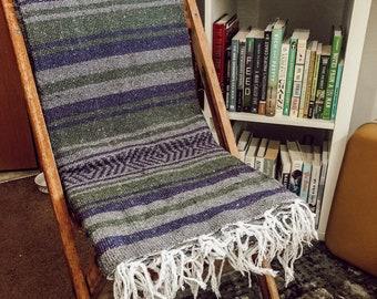 Green, Purple, Grey // HUGE Mexican Blanket Baja Fringe Beach Towel // EMYDDESIGN