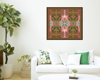 Wall decoration, Leaf wall hanging, Colorful textile, Wall Tapestry, Painted art, Wall art print, Printed textile art, Home decor,Gift women