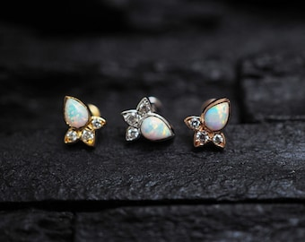 White opal Lotus screw flat back cartilage stud,helix earring,lip ring,medusa piercing,conch earring
