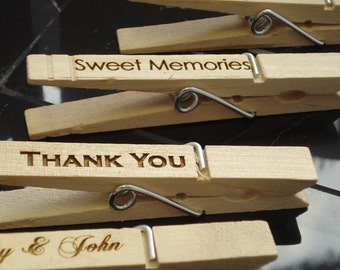 20 Custom Clothespin Wedding Favors place card holders