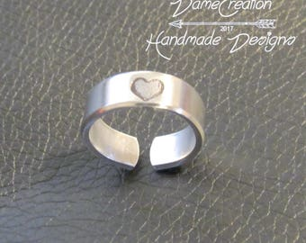 Heart Ring, Silver Heart Ring, Heart Jewelry, Promise Ring, Love Ring, Girlfriend Gift, Personalzied For Her, Custom Ring, Engraved Ring