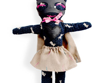 Rag doll bunny-super hero-girl-Miss Bunny-Super Doudou for kid in printed cotton