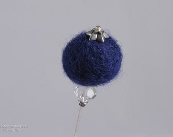 Needle Felted Stick Pin, Blue Pin, 3 Inch Pin, Hat Pin, Lapel Pin, Hijab Pin H0155